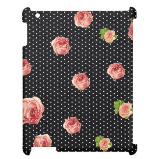 白黒水玉模様の花模様 iPad カバー