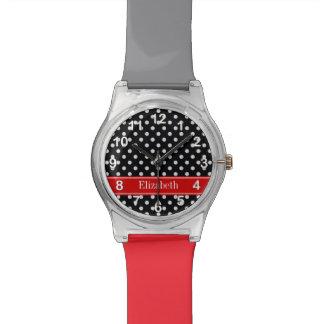 白黒水玉模様の赤い一流のモノグラム 腕時計