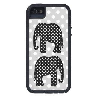 白黒水玉模様象 iPhone SE/5/5s ケース