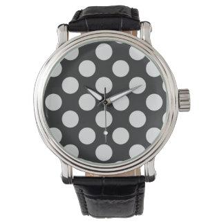 白黒水玉模様 腕時計