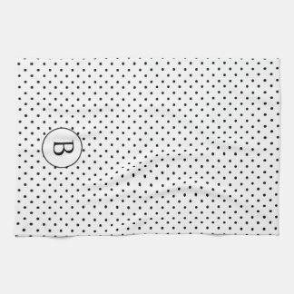 白黒水玉模様w/Monogram キッチンタオル