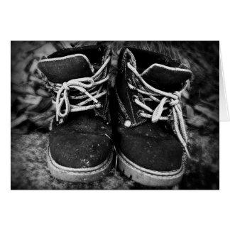 白黒汚い仕事のブーツ- カード