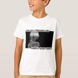 白黒沈痛な女性都市シルエット Tシャツ