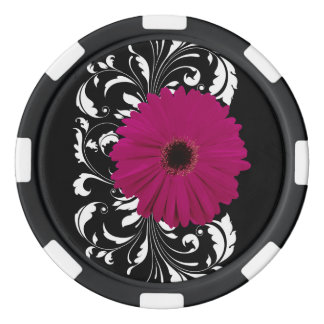 白黒渦巻の赤紫のガーベラのデイジー ポーカーチップ