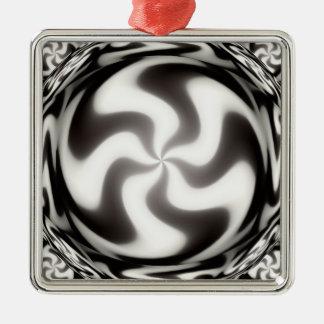 白黒渦巻パターン メタルオーナメント