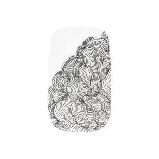 白黒渦巻指のネイル ネイルアート