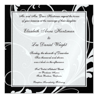 白黒渦巻準正装の結婚のInvitatio カード