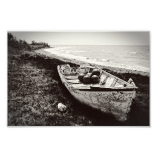 白黒漁船 フォトプリント