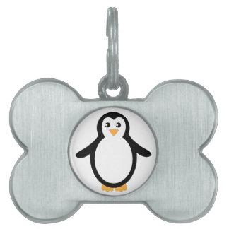 白黒漫画のペンギン ペットネームタグ