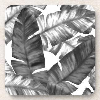 白黒熱帯バナナはパターンを去ります コースター