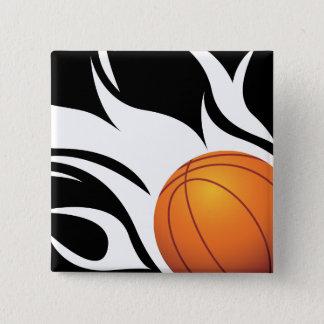 白黒燃えるようなバスケットボール 缶バッジ