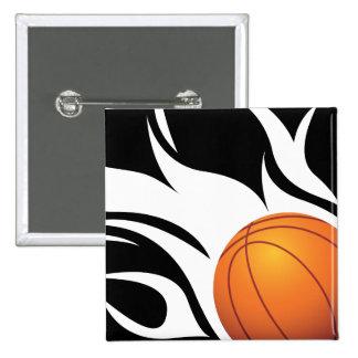 白黒燃えるようなバスケットボール 5.1CM 正方形バッジ