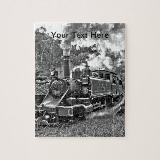白黒狭いゲージの蒸気の列車 ジグソーパズル