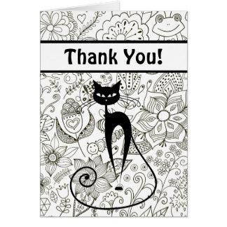 白黒猫および庭のサンキューカード カード