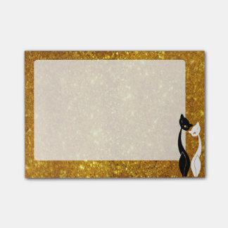 白黒猫および金フレーム ポストイット