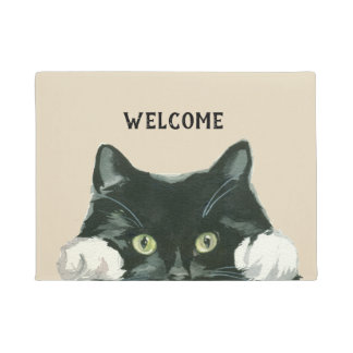 白黒猫の歓迎の玄関マット ドアマット