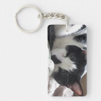 白黒猫の睡眠 キーホルダー