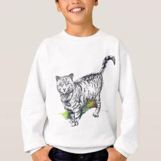 白黒猫の鉛筆のスケッチ スウェットシャツ