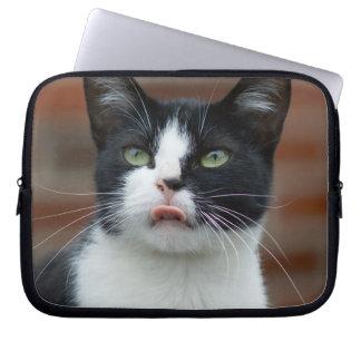 白黒猫コンピュータ袖 ラップトップスリーブ