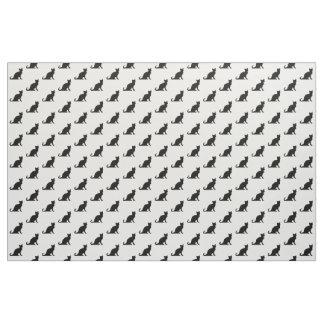 白黒猫パターンデザインの織布 ファブリック