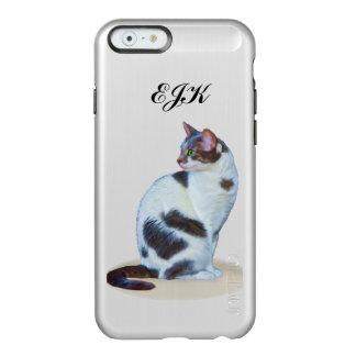 白黒猫、カスタマイズ可能なモノグラム INCIPIO FEATHER SHINE iPhone 6ケース