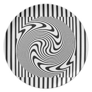 白黒目の錯覚のストライプのプレート プレート