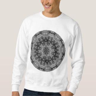 白黒目まぐるしく幾何学的な曼荼羅 スウェットシャツ