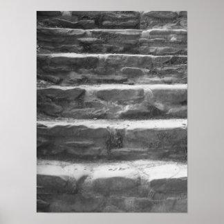 白黒石は写真歩みます ポスター