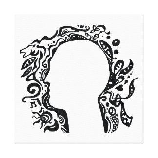 白黒種族のヘッド想像 キャンバスプリント
