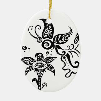 白黒種族の蝶 セラミックオーナメント