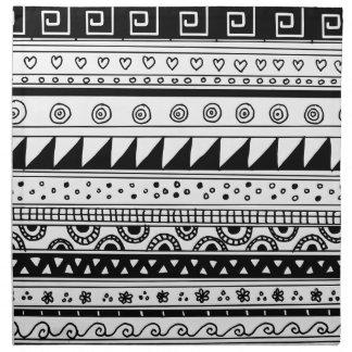 白黒種族パターン ナプキンクロス