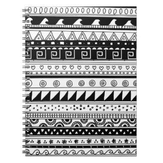 白黒種族パターン ノートブック