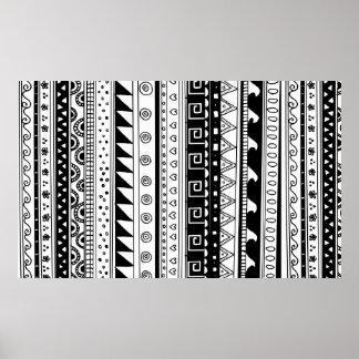 白黒種族パターン ポスター
