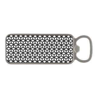 白黒立方体パターン マグネット栓抜き