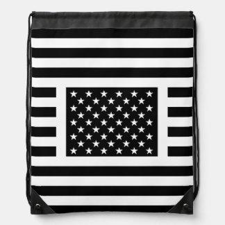 白黒米国旗のバックパック ナップサック