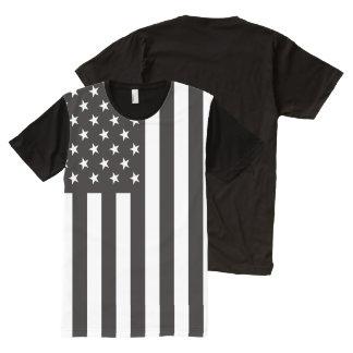 白黒米国旗 オールオーバープリントT シャツ