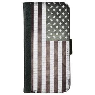 白黒米国旗 iPhone 6/6S ウォレットケース