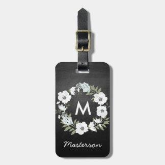 白黒素朴な花のリースのモノグラム ラゲッジタグ
