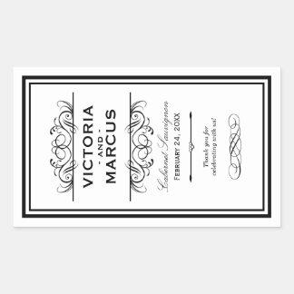 白黒結婚式のワイン・ボトルのモノグラムの好意 長方形シール