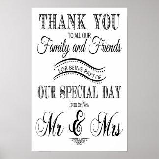 白黒結婚式の印ありがとう ポスター