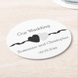 白黒結婚式 ラウンドペーパーコースター