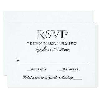 白黒結婚式RSVPカード| 8.9 X 12.7 インビテーションカード