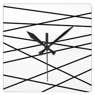 白黒線形幾何学的 スクエア壁時計