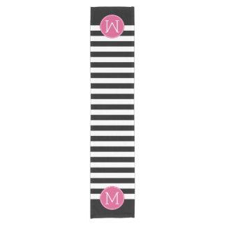 白黒縞模様のショッキングピンクのモノグラム ショートテーブルランナー