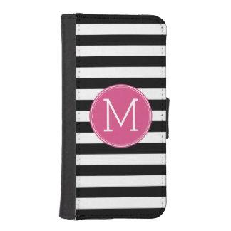 白黒縞模様のショッキングピンクのモノグラム iPhoneSE/5/5sウォレットケース