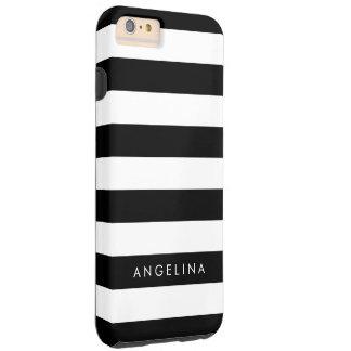 白黒縞模様の名前をカスタムする TOUGH iPhone 6 PLUS ケース