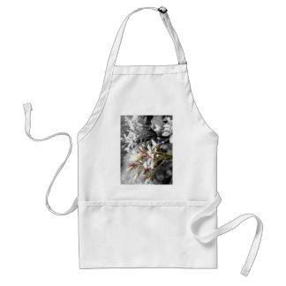 白黒背景の白い花 スタンダードエプロン