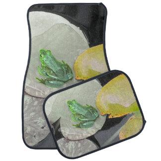 白黒背景(自然)の緑カエル カーマット