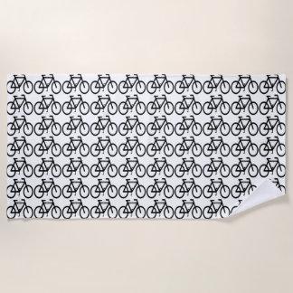 白黒自転車の抽象芸術のビーチタオル ビーチタオル