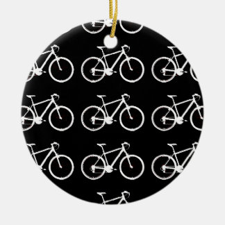 白黒自転車の模造 セラミックオーナメント